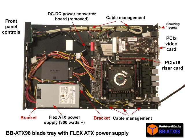 BB-ATX98 standard power supply tray with FLEX ATX power supply installed