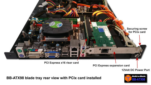 PCI Express card on the BB-ATX98 blade tray